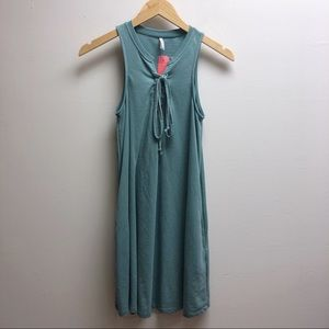 Z Supply sleeveless green lace up dress
